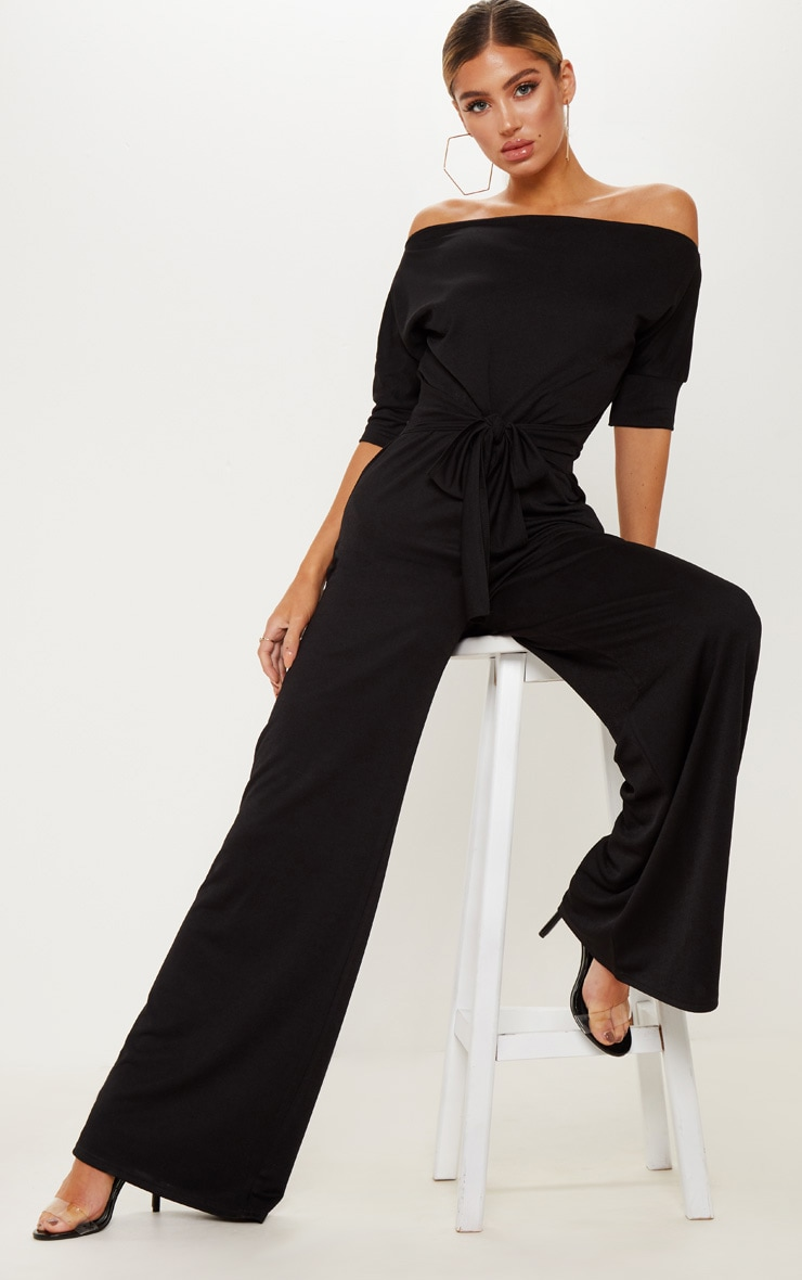 Black Off Shoulder Tie Waist Wide Leg Jumpsuit 1