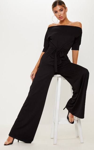2261dd3e2aa8 Black Off Shoulder Tie Waist Wide Leg Jumpsuit