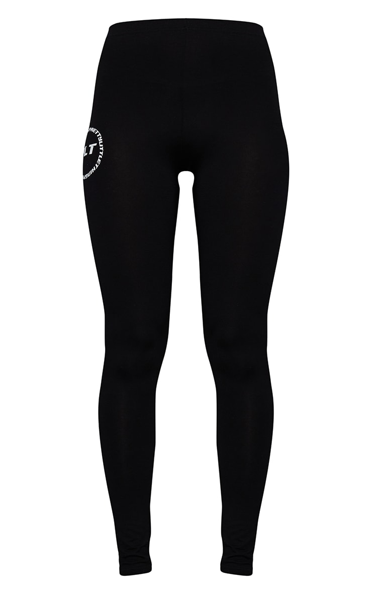 PRETTYLITTLETHING Black Circle Logo Leggings 5