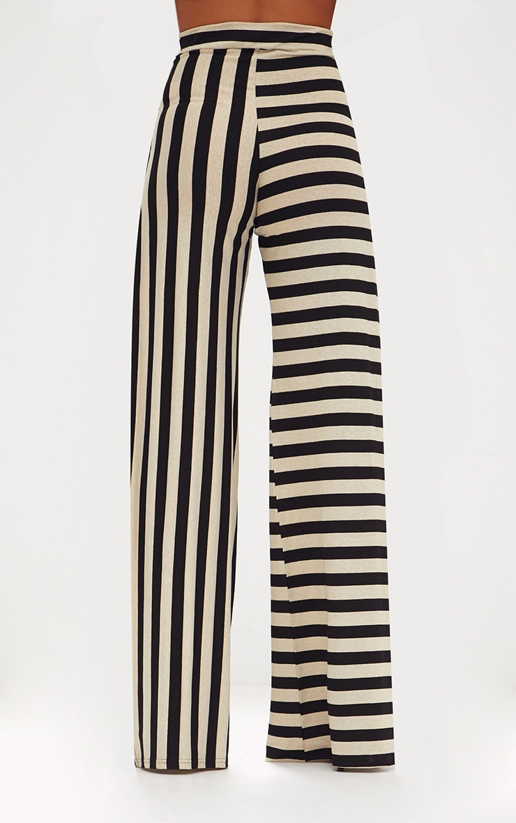 Black Contrast Leg Metallic Stripe Trousers 4