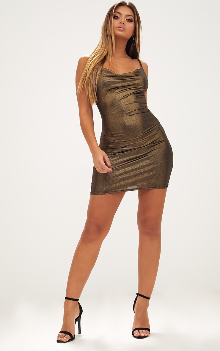 Gold Metallic Cowl Neck Bodycon Dress 4