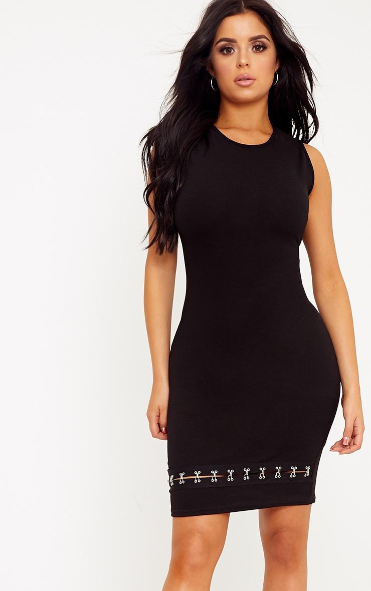 Shape Teri Black Crepe Hook and Eye Hem Dress 1