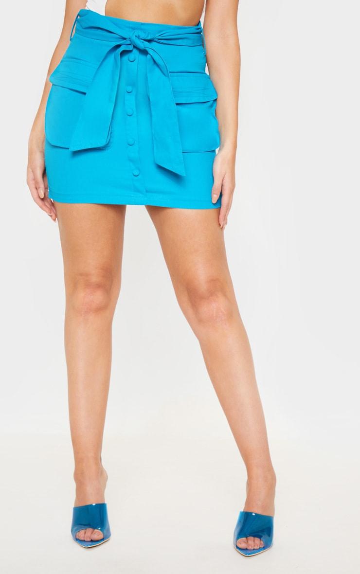 Bright Blue Utility Tie Waist Mini Skirt  2