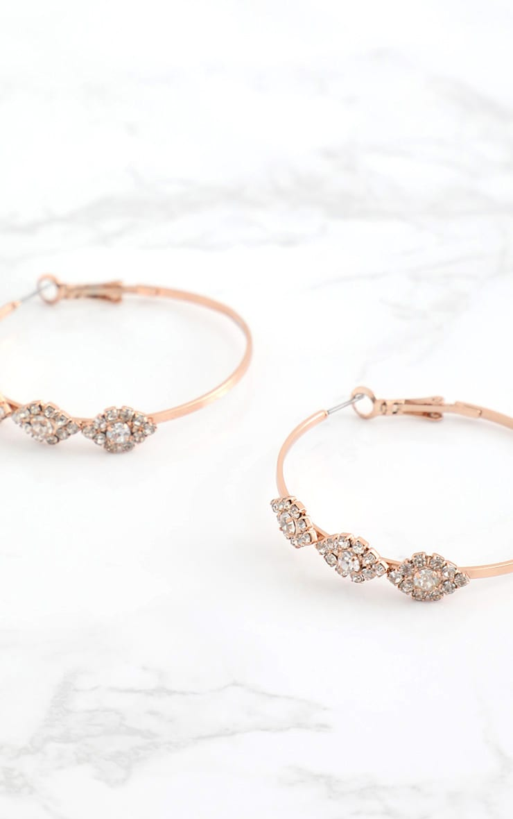 Rose Gold Diamante Trim Hoop Earrings 4