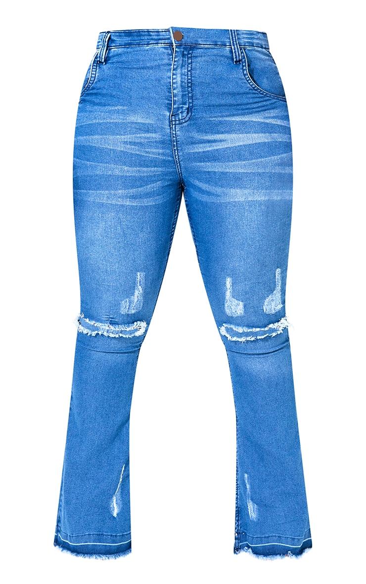 Plus Mid Blue Distressed Knee Flare Jean 5