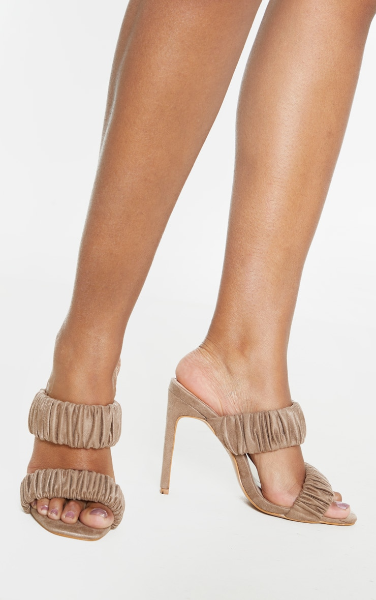 Sand Ruched Elastic Twin Strap Mule Sandal 1