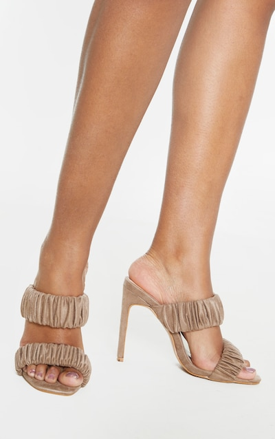 Sand Ruched Elastic Twin Strap Mule Sandal