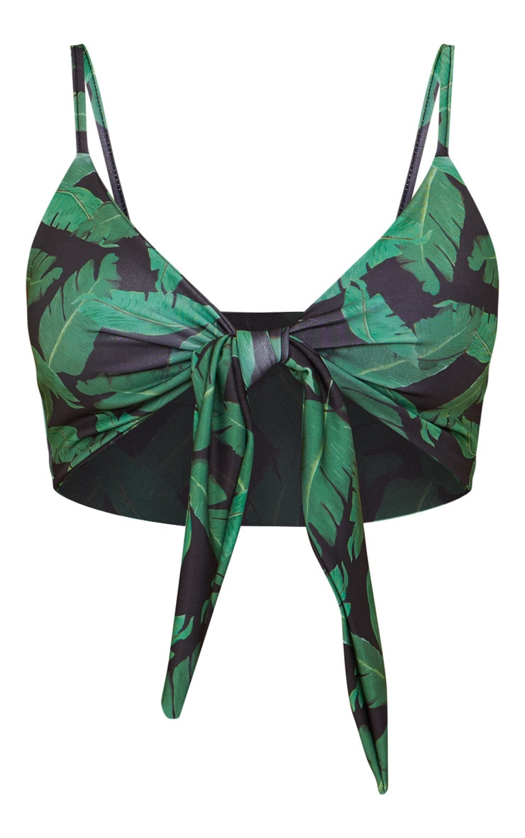 Black Banana Leaf Multi Tie Bikini Top 3