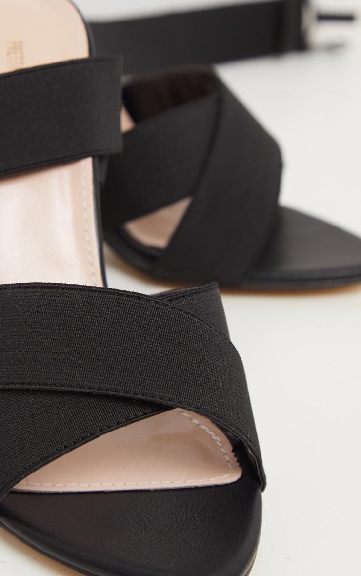 Black Elastic Buckle Detail Block Heel Sandal 3