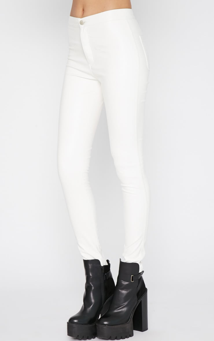 Lina White Skinny Leather Trouser 4