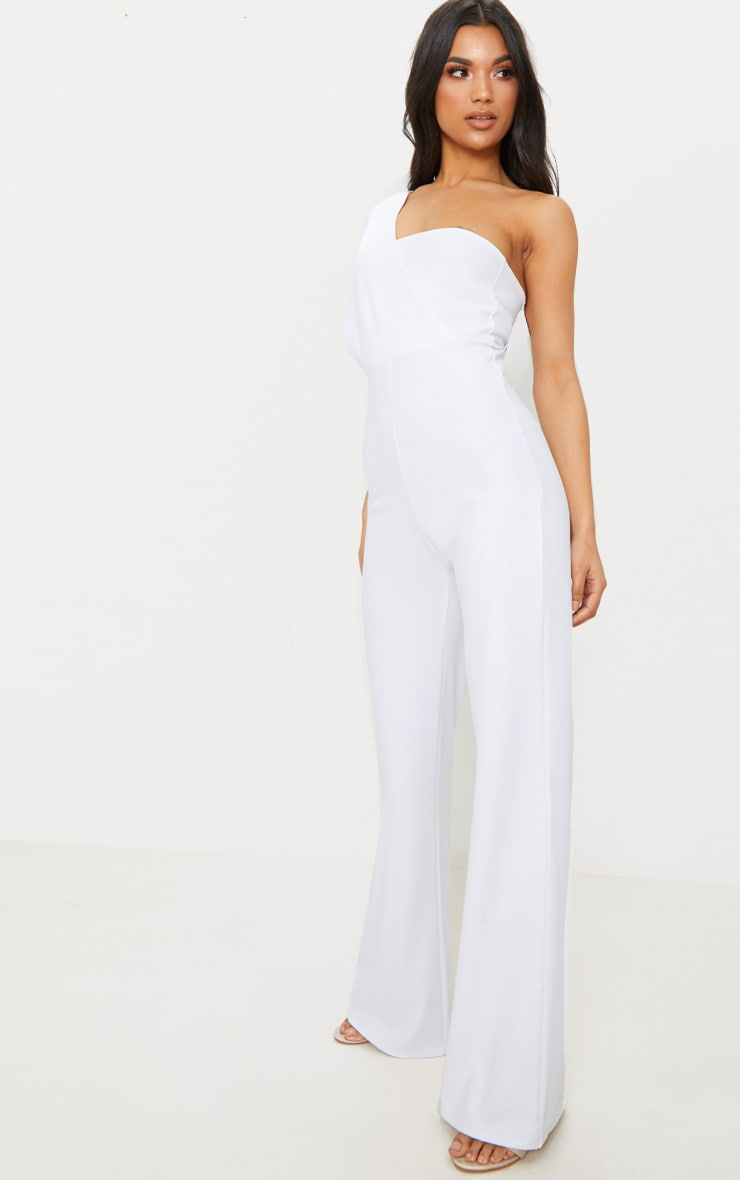 White Drape One Shoulder Jumpsuit 4