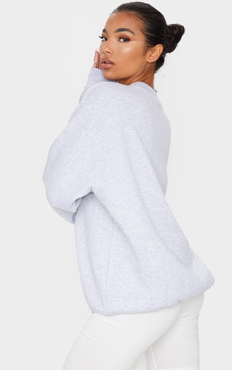 PRETTYLITTLETHING Grey Marl Oversized Sweater 2