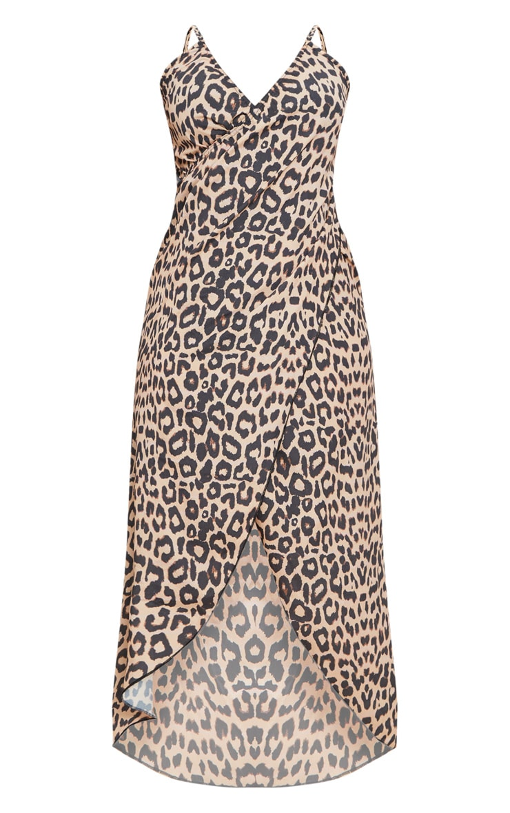 Plus Brown Leopard Print Wrap Detail Chiffon Beach Cover Up Dress 3