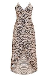 cdcd831dc5 Plus Brown Leopard Print Wrap Detail Chiffon Beach Cover Up Dress image 3