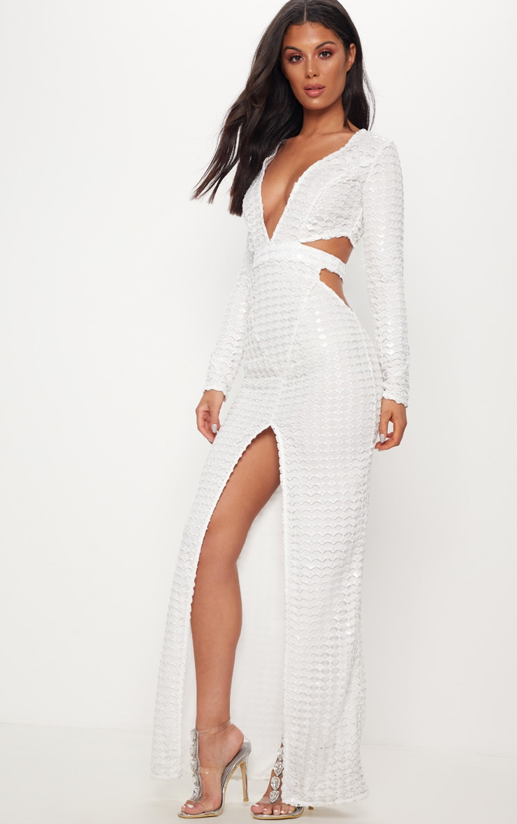 White Metallic Detailed Cut Out Plunge Maxi Dress 4