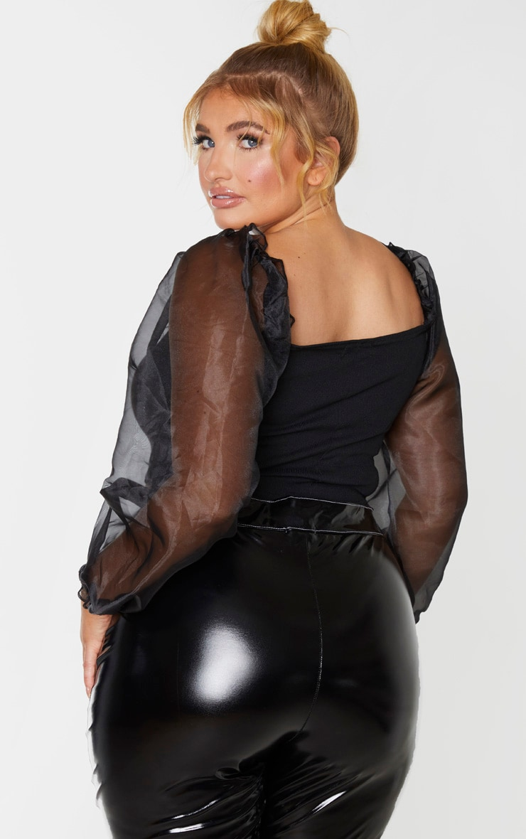 Plus Black Organza Long Sleeve Top 2