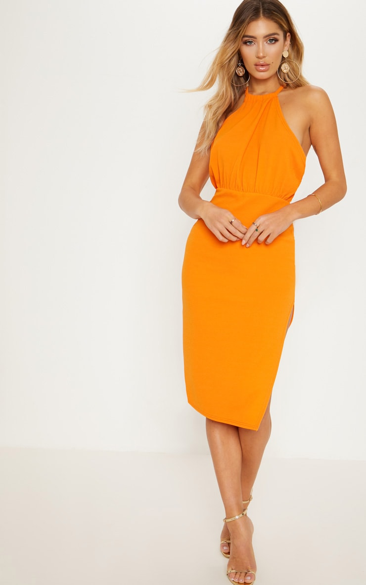 Bright Orange Halterneck Midi Dress
