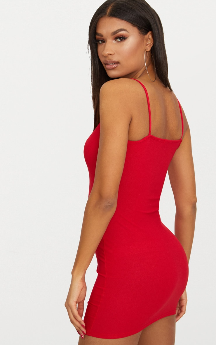 Red Crepe Strappy Bodycon Dress 2