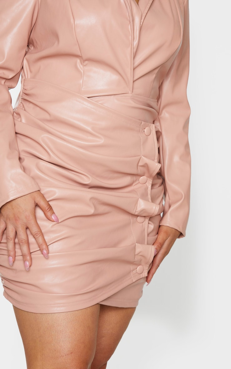 Plus Nude PU Ruched Skirt Blazer Dress 4