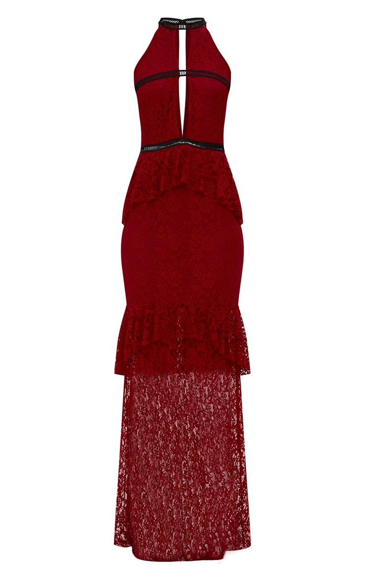 Burgundy Lace Ruffle Detail Plunge Maxi Dress 4