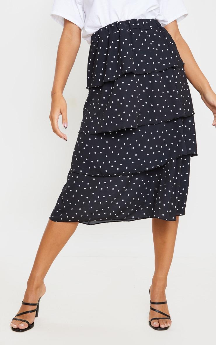 Black Polka Dot Tiered Midi Skirt 3