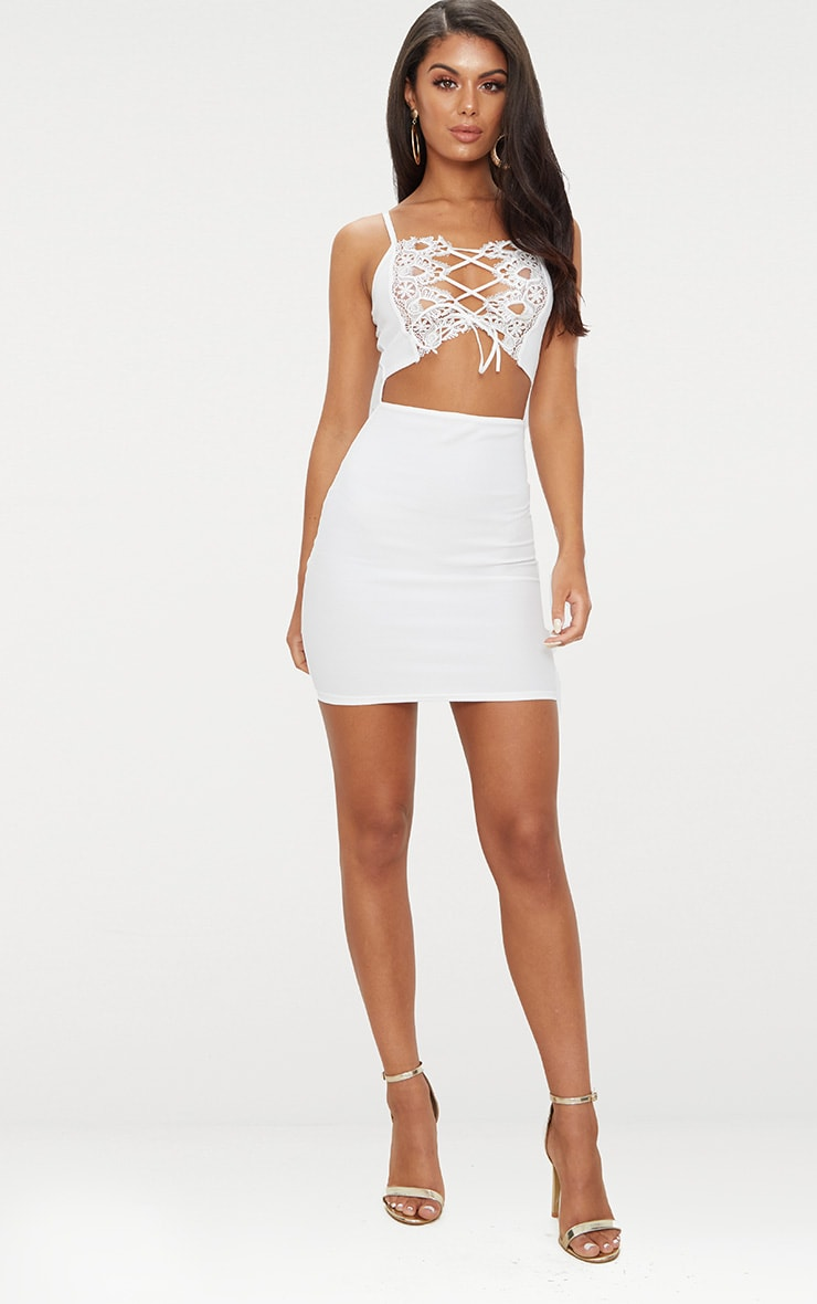 White Lace Trim Cut Out Detail Bodycon Dress 3