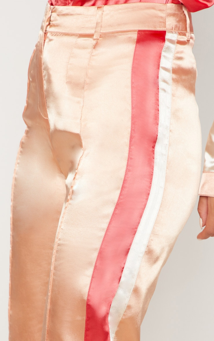 Peach Satin Contrast Stripe Wide Leg Trouser 5