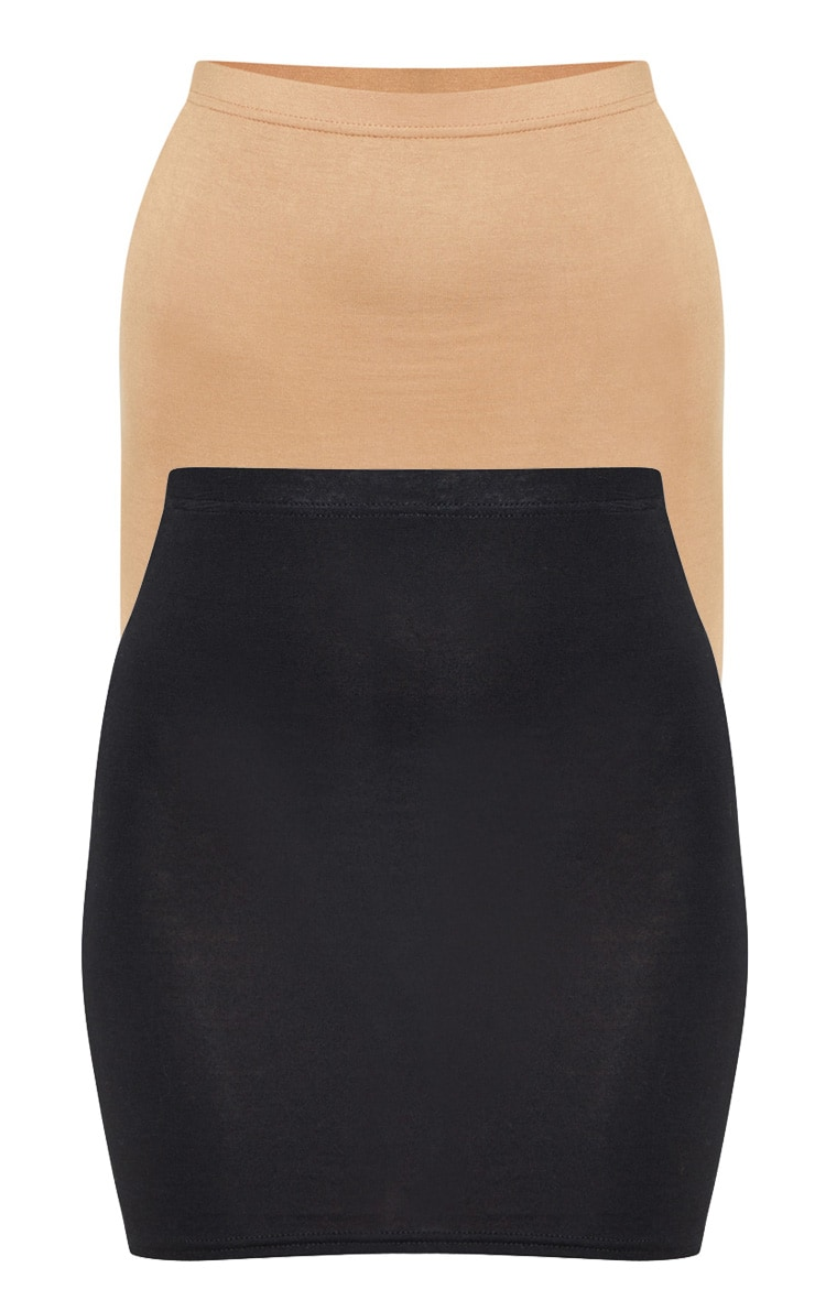 Basic Black & Camel Jersey Mini Skirt 2 Pack 3