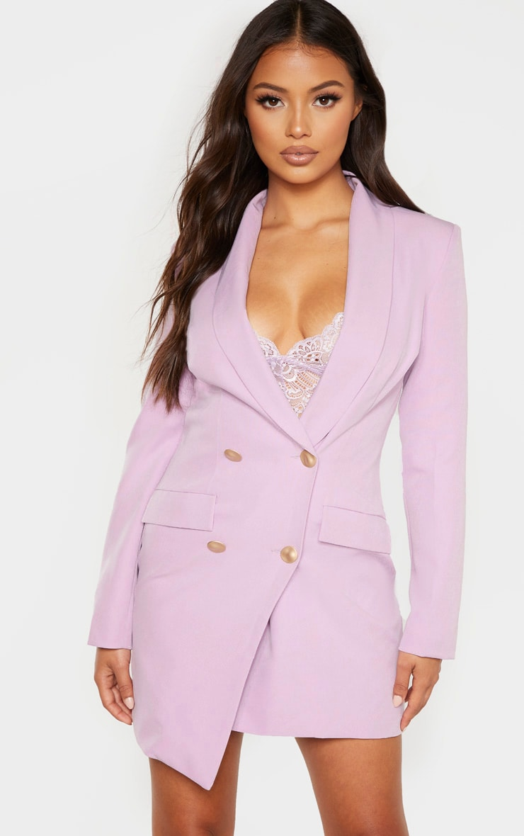 Petite Lilac Button Woven Blazer Dress 1