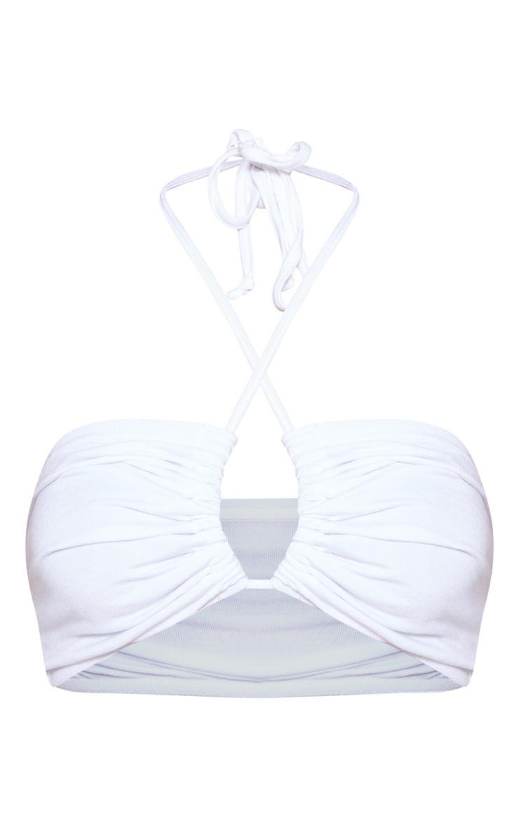 White Tie Front Halterneck Crop Top 4