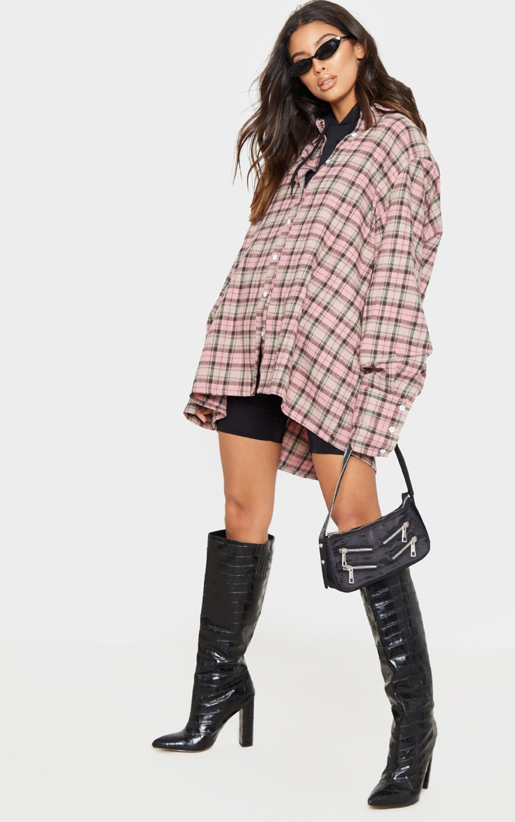 Pink Tartan Checked Flannel Pocket Detail Oversized Shirt 1