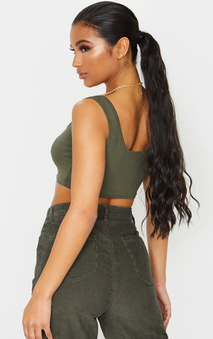Basic Khaki Scoop Neck Crop Top 2