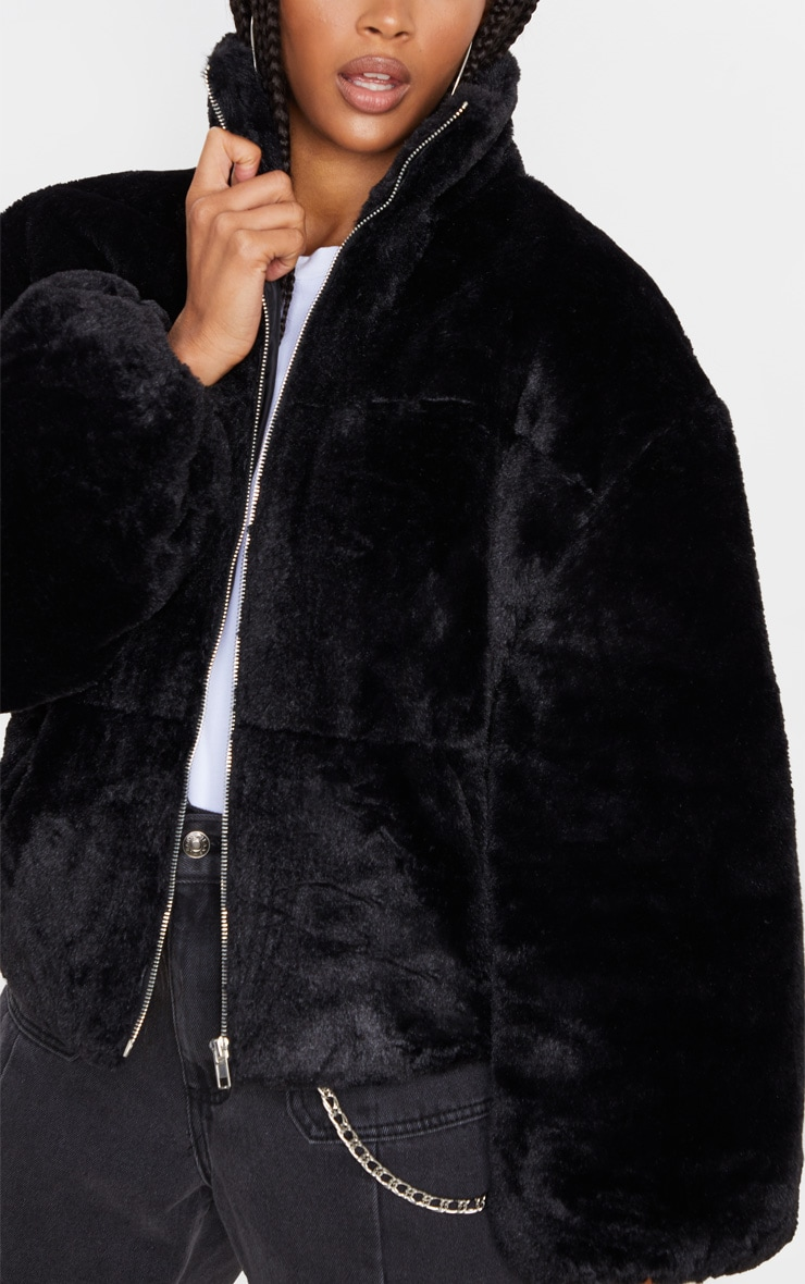 Black Faux Fur Zip Through Bomber 5