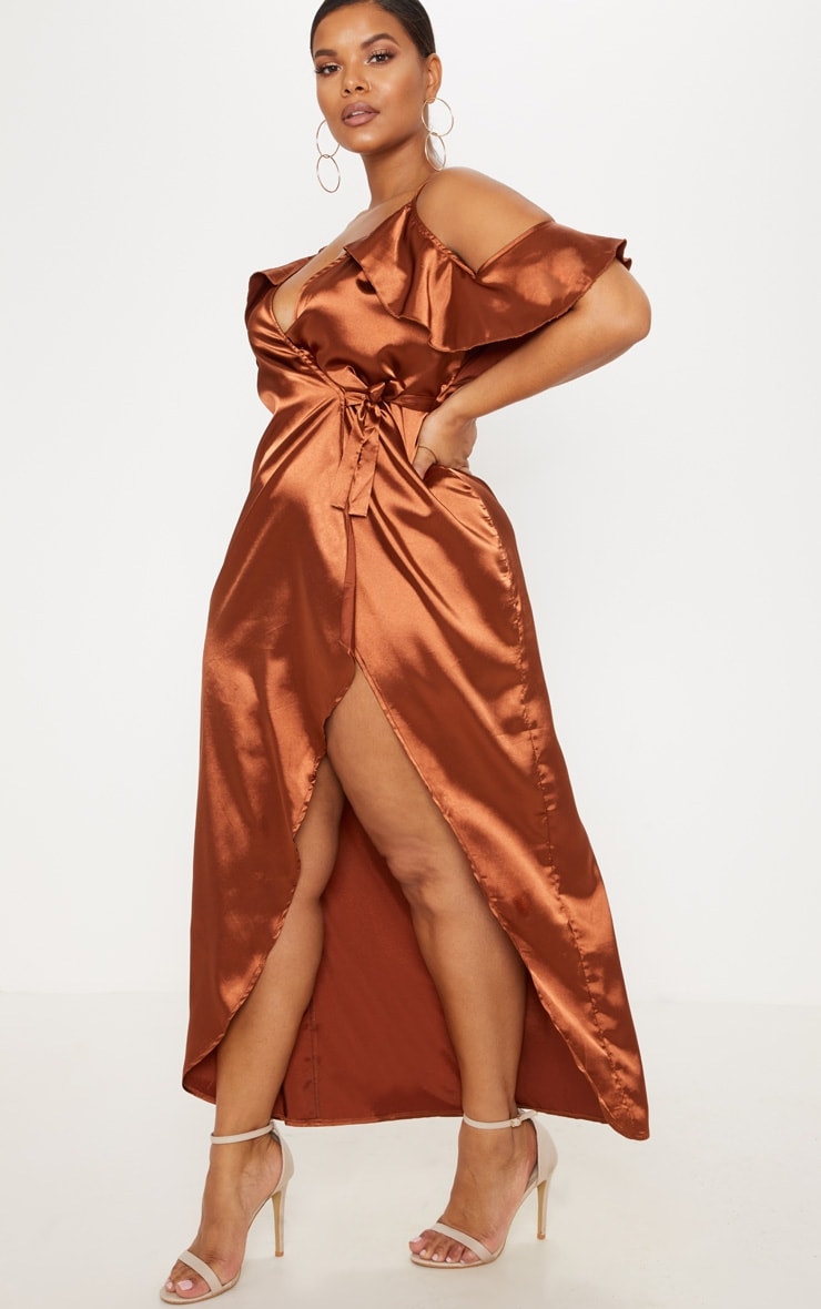 Plus Rust Satin Frill Detail Maxi Dress
