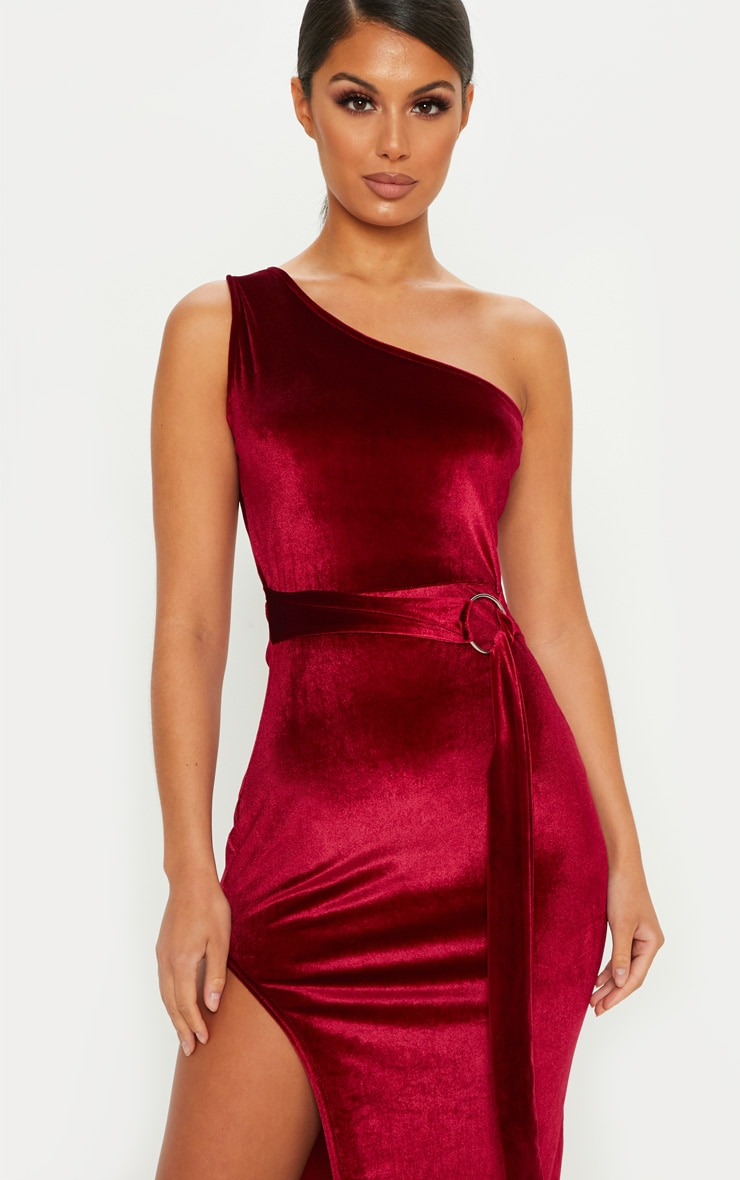 Burgundy One Shoulder Velvet Midi Dress 5