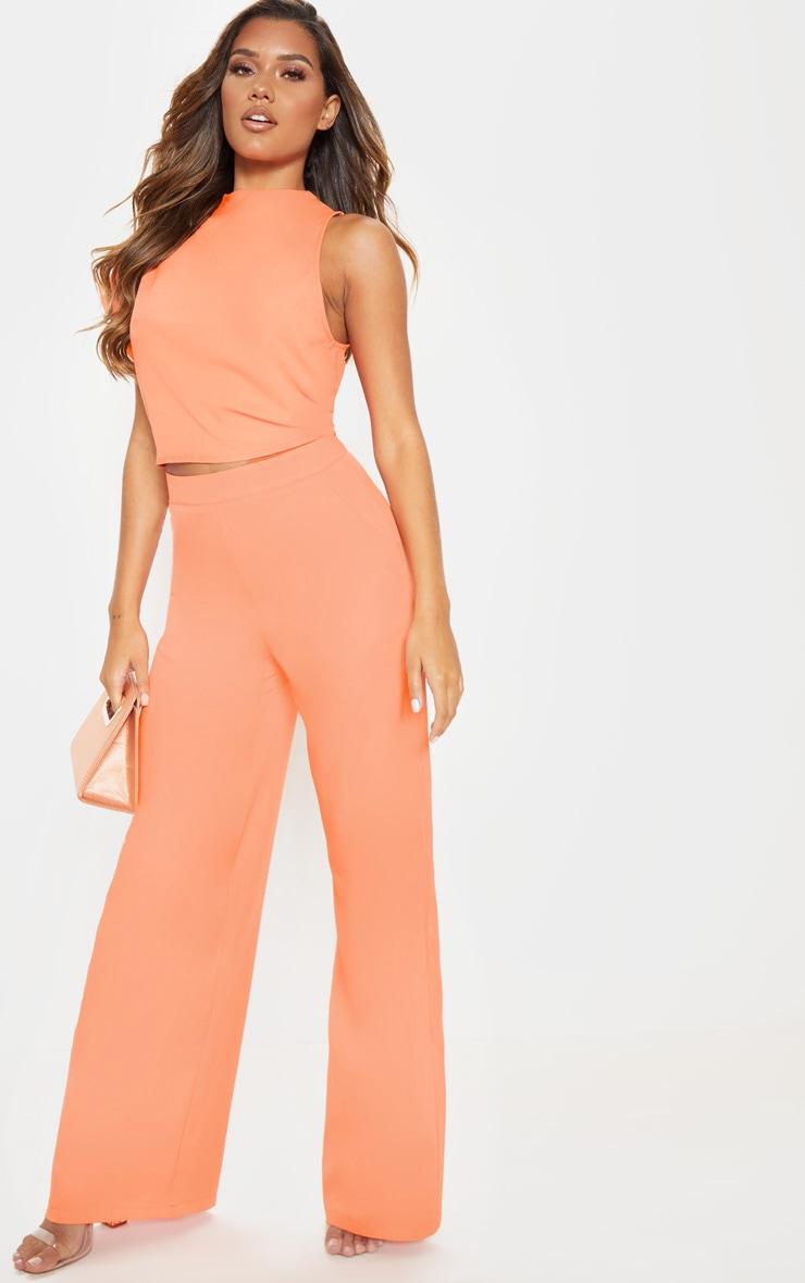 Peach High Waisted Wide Leg Trouser 1