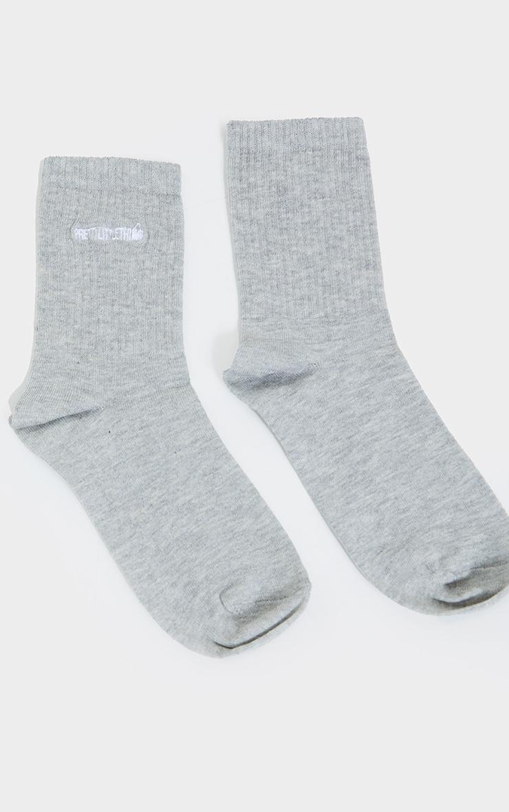 PRETTYLITTLETHING Grey Embroidered Socks 3