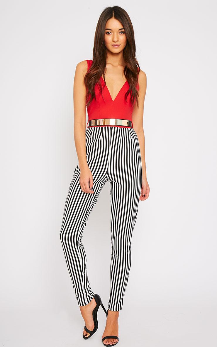 Bryn Red Plunge Stripe Jumpsuit  3