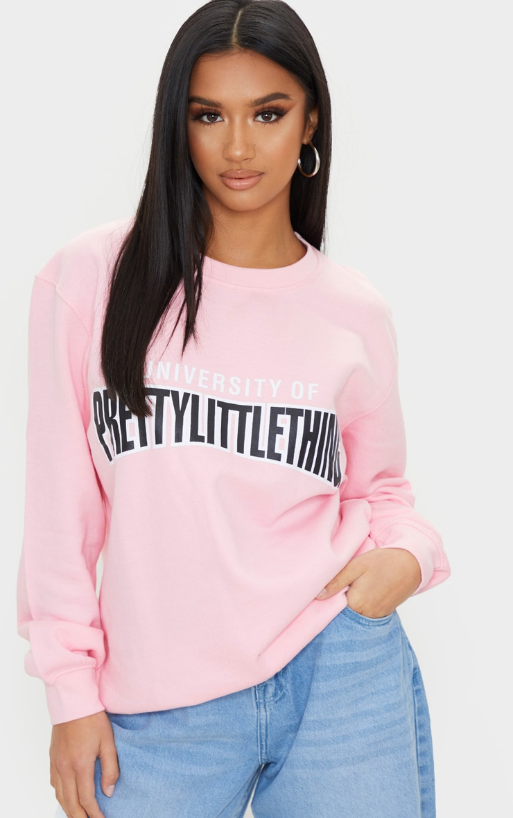 Petite - Pull rose tendre à slogan 'University Of PrettyLittleThing'  4