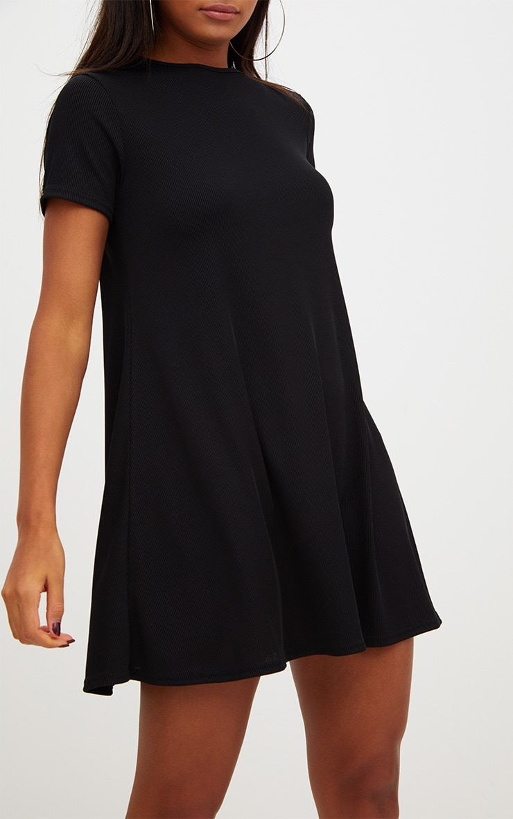 Black Ribbed Cap Sleeve Swing Dress 5