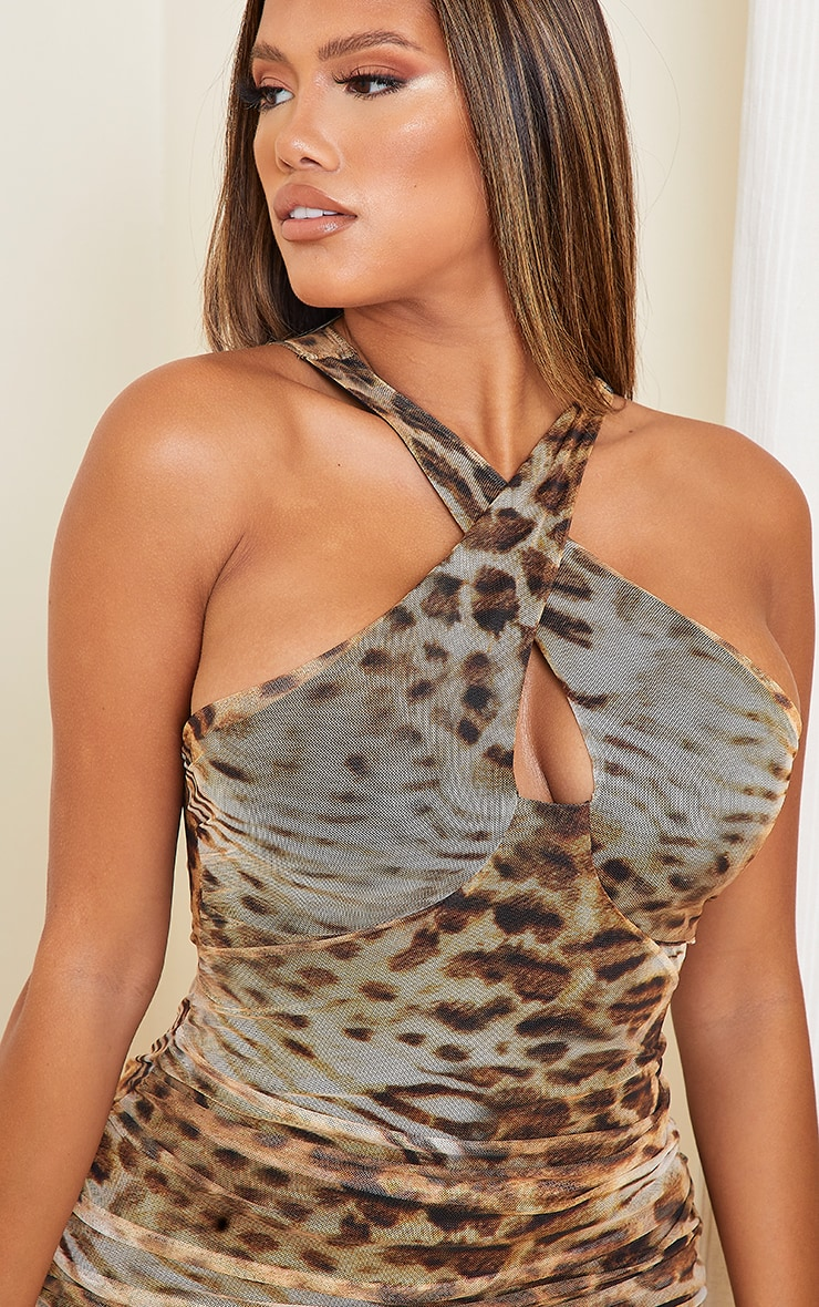 Shape Brown Leopard Print Mesh Halterneck Bodycon Dress 4