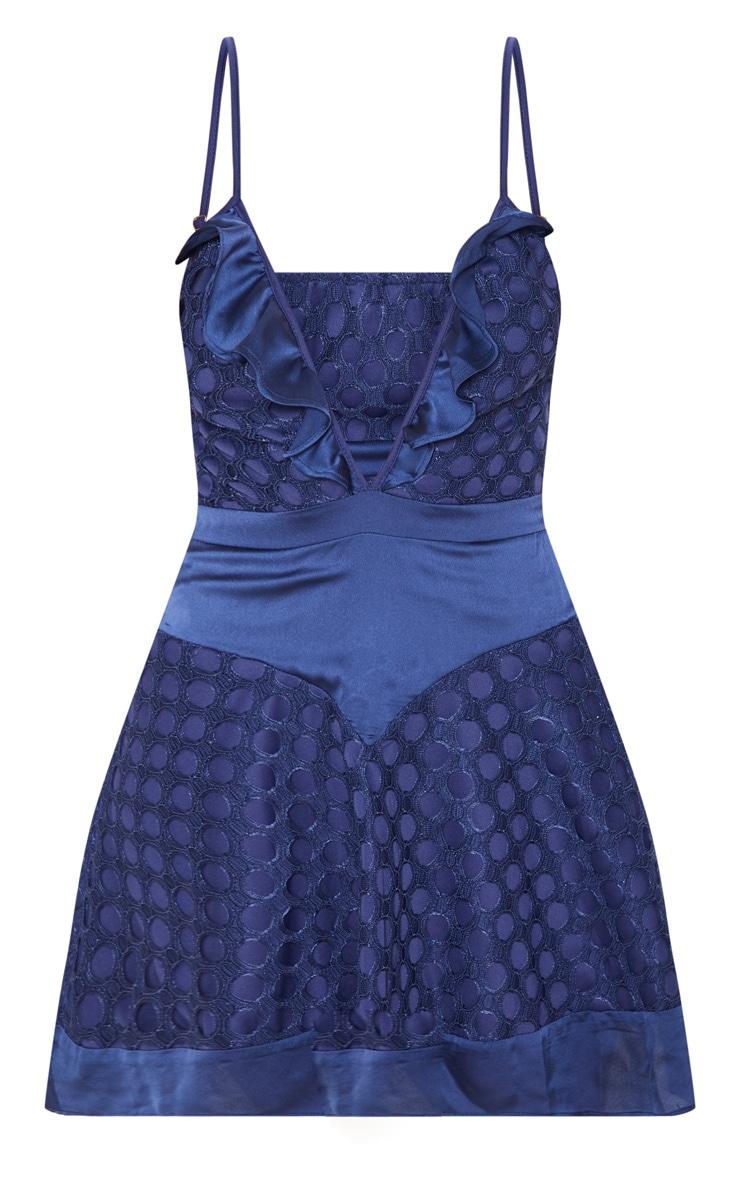 Navy Lace Strappy Skater Dress 3