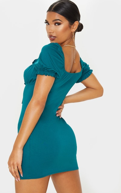 Jasper Green Ruched Bust Tie Front Shift Dress