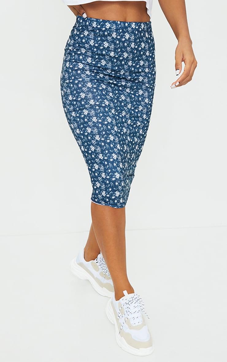 Navy Ditsy Floral Midi Skirt 2