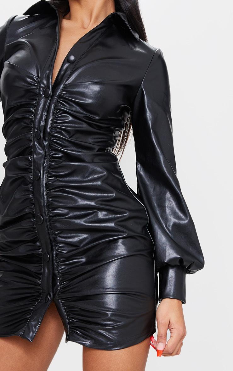 Black PU Ruched Shirt Style Bodycon Dress 4