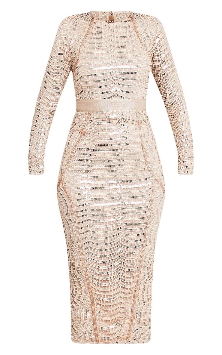 Kendika Gold Premium Sequin Midaxi Dress 4