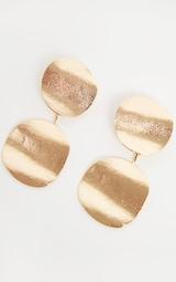 Gold Wavy Double Disc Drop Earrings 3