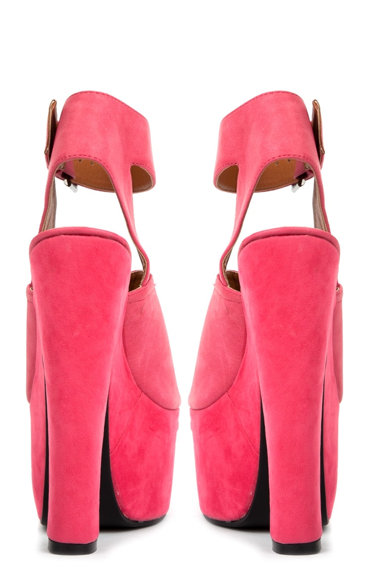 Sally Fuchsia Chunky Peeped Toe Heels 3