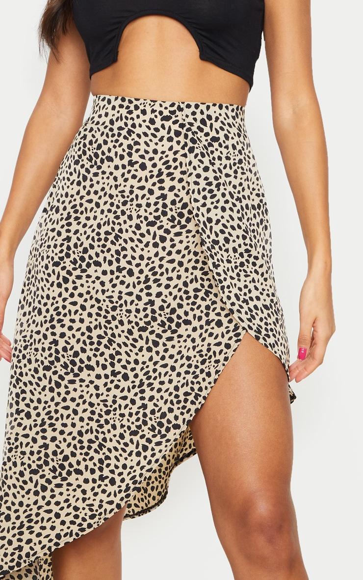 Black Dalmatian Print Satin Asymmetric Midi Skirt 4
