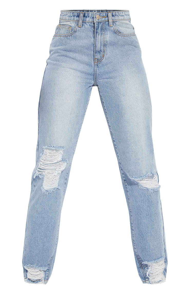 PRETTYLITTLETHING Tall Light Blue Wash Extreme Distressed Hem Knee Rip Mom Jean 5